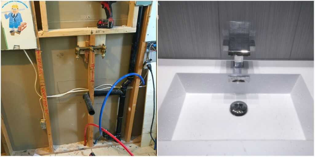 Hand sink and hand sink faucet installation